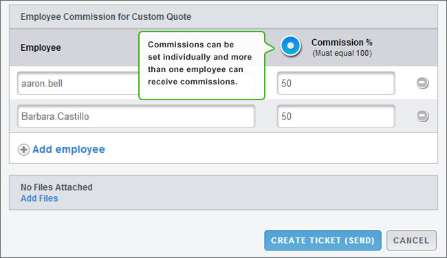 Set commissions to credit associates or teams.